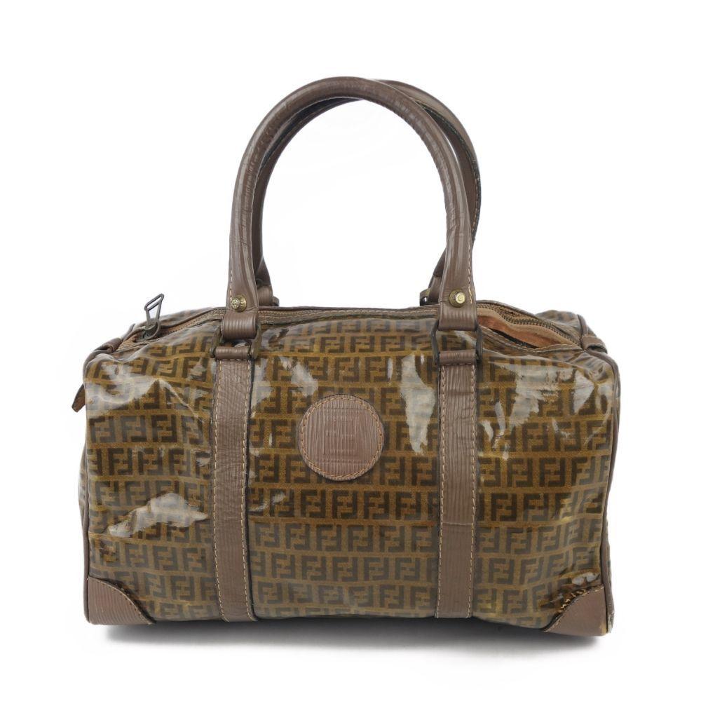 Vintage Fendi FENDI Zucca Pattern PVC Leather Boston Bag Handbag Italian Brown