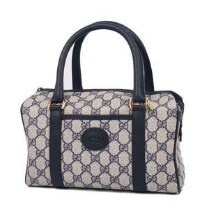 Vintage Old Gucci GUCCI GG Pattern Mini Boston Bag Handbag Navy Gray Ladies Italy Made