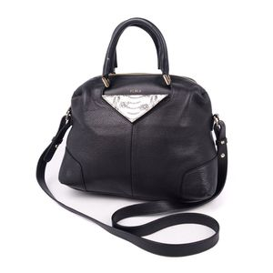 Furla FURLA Women's 2way Diagonal Leather Shoulder Bag Handbag Black Agate Genuine