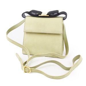 Salvatore Ferragamo Vala 2way Shoulder Bag Handbag Made in Italy Yellow Green