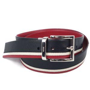 Prada PRADA Made in Italy Men's Reversible Buckle Belt 85 34 Leather Genuine Black Red