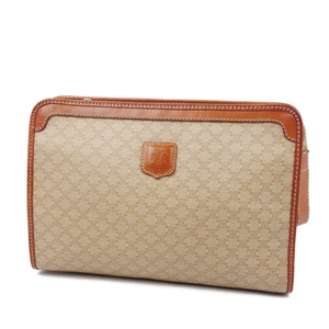 Vintage Celine CELINE Macadam PVC Leather Clutch Bag Second Beige Brown