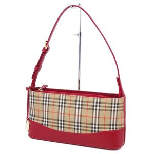 Burberry BURBERRY Ladies Horse Ferry Check Shoulder Bag Canvas Leather Beige Red 鞄