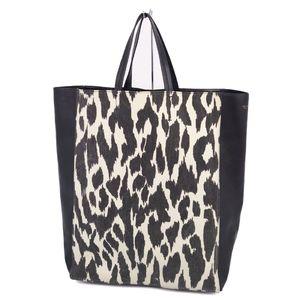 Celine CELINE Horizontal Canvas Leather Tote Bag Black Animal Pattern White Ladies Made in Italy