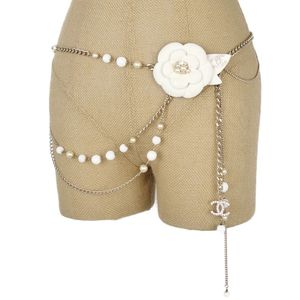 CHANEL CHANEL 05A Camellia Coco Mark Chain Belt Faux Pearl Champagne Gold White Silver Ladies Made In France