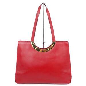 Vintage Celine CELINE Circle Logo Leather Tote Bag Shoulder Red Gold Italy Ladies