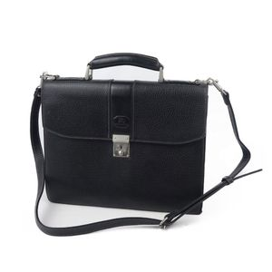 Burberry BURBERRY Back Check All Leather 2way Briefcase Shoulder Bag Men's Black Document