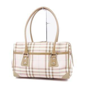 Burberry London BURBERRY LONDON Made in Italy Check Semi Shoulder Bag Handbag Pink Brown