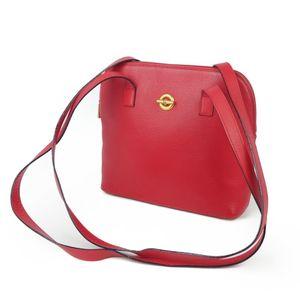 Vintage Celine CELINE Made in France Circle Logo Leather Shoulder Bag Ladies Red