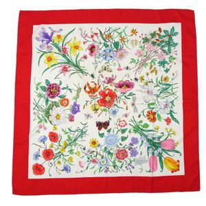 Gucci GUCCI Ladies Flora Floral Silk Scarf White Red