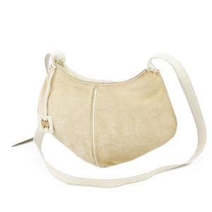 Loewe LOEWE Anagram Suede Leather Shoulder Bag Ladies Navy Blue Ivory Beige