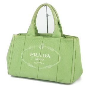 Prada PRADA Made in Italy Kanapa Tote Bag Handbag Canvas Navy Green Ladies Men