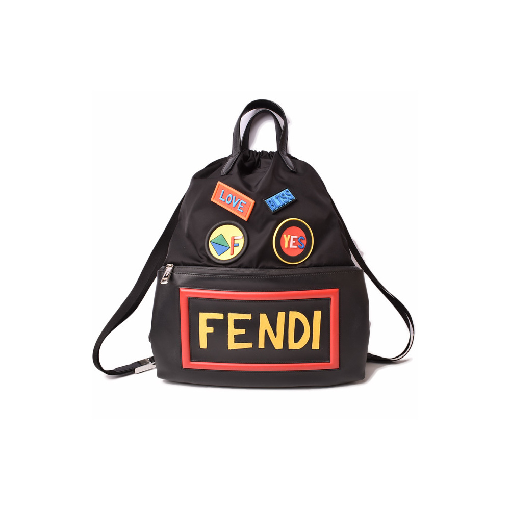 Fendi backpack rucksack FENDI face 2WAY drawstring knapsack nylon leather patchwork black 7VZ034 1OQ F0JBX