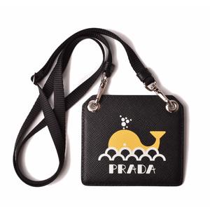 Prada Pass Case ID Holder Card PRADA With Neck Strap 2MC044 Badge Whale Black Unused