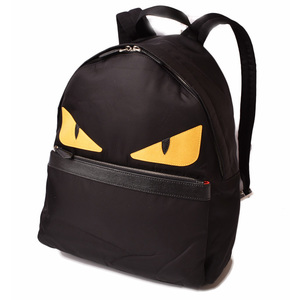 Fendi backpack rucksack FENDI back pug bugs 7VZ012 black yellow monster nylon leather