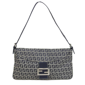Fendi FENDI Zucca Mamma Bucket Shoulder Bag Canvas Leather Beige Black