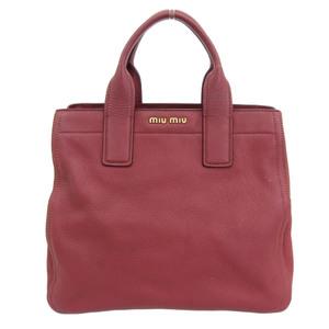 Miu MIUMIU Vitero Caribbean Handbag Leather Red RN0889