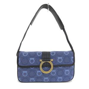 Salvatore Ferragamo shoulder bag canvas x leather blue AU 215900