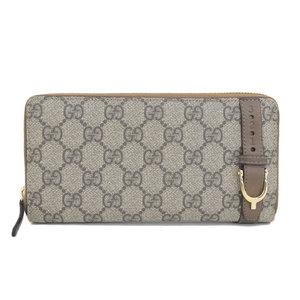 Gucci GUCCI GG plus round zipper wallet PVC × leather brown 309758