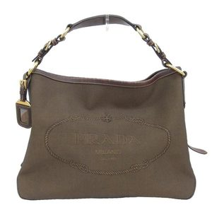 Prada PRADA Jacquard Shoulder Bag Canvas Leather Brown BR3420