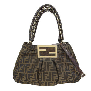 Fendi FENDI Zucca 2WAY bag canvas enamel brown black 8BR615