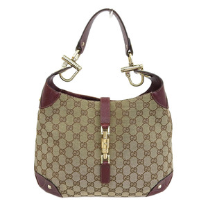 Gucci GUCCI GG canvas shoulder bag leather brown red 120888