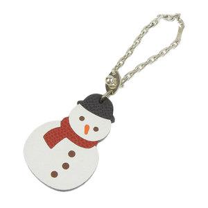 HERMES HERMES snowman charm key holder leather multi color