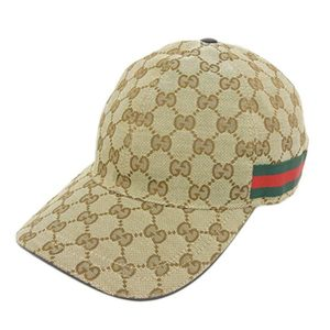 Gucci GUCCI GG canvas baseball cap hat brown green red 200035