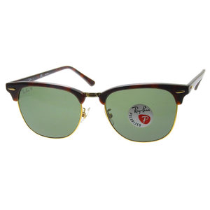 Ray-Ban Unused Rayban With Tag Sealed Clubmaster Sunglasses Polarized Lens RB3016F 55 □ 19 Brown × Gold