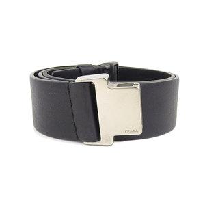Prada leather belt silver buckle 80 cm black length stepless adjustable