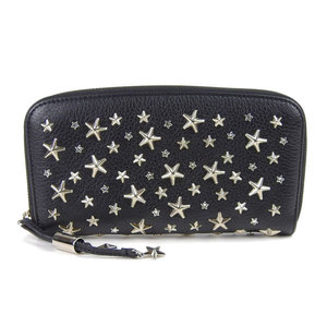 Genuine JIMMY CHOO round zipper long wallet star studs with rhinestone black × silver leather