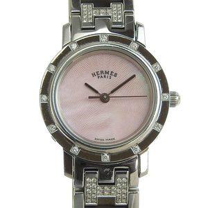DUNHILL Clipper Bezel Rag Diamond Pink Shell Quartz Ladies Wrist Watch C.L.4.230