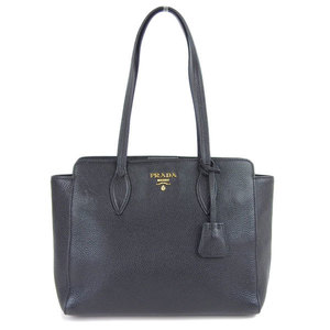 Genuine PRADA Prada Vitello Tote Bag Black 1BG111 Leather