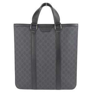 Genuine GUCCI Gucci GG pattern PVC tote bag black × gray 322072 leather