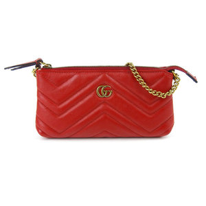 Genuine GUCCI Gucci GG Marmont chain mini bag red 443129 leather