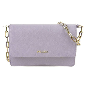 Genuine PRADA Prada Saffiano Shoulder Bag Chain Wallet Lavender BT1045 Leather