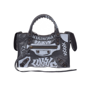 Balenciaga Graffiti Mini City Black Ladies' Calf 2WAY Handbag Shindo Beauty BALENCIAGA Used Ginzo