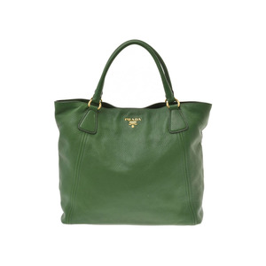 Prada 2WAY tote bag green ladies calf B rank PRADA strap with used silver