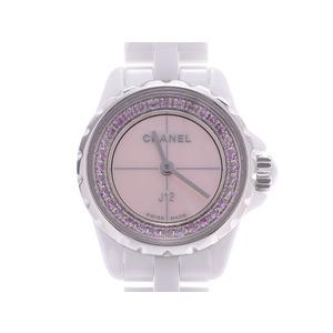 シャネル J12XS シェル文字盤 ピンクサファイアベゼル H5512 レディース 白セラミック クオーツ 腕時計 Aランク 美品 CHANEL 箱 ギャラ 中古 銀蔵
