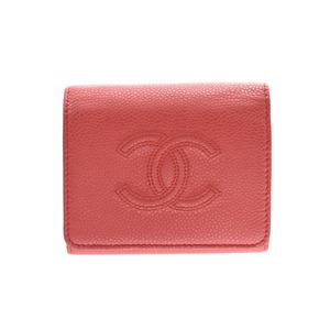 シャネル(Chanel) シャネル コンパクト三ツ折財布 サーモンピンク レディース キャビアスキン Bランク CHANEL 箱 中古 銀蔵