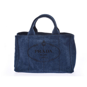 Prada Kanapa Blue 1BG642 Ladies Denim 2WAY Tote Bag A Rank PRADA Strap Empty Gala Used Ginzo