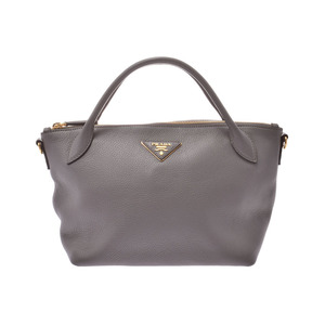 Prada 2WAY mini handbag gray 1BA111 ladies calf A rank beautiful goods PRADA gal strap with silver warehouse