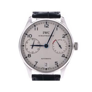 IWC ポルトギーゼ 7DAYS 白文字盤 IW500107 メンズ SS/革 自動巻 腕時計 Aランク 美品 箱 正規ギャラ 中古 銀蔵