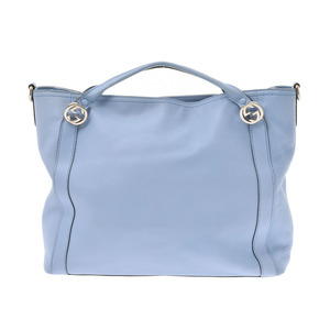 Gucci 2WAY bag light blue ladies calf B rank GUCCI strap used silver warehouse