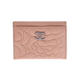Chanel Camellia Card Case Sale Product Beige Ladies Calf A Rank CHANEL Used Ginzo