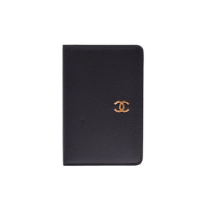 Chanel notebook cover black GP metal fittings lady's men's leather A rank CHANEL box Gala used silver warehouse
