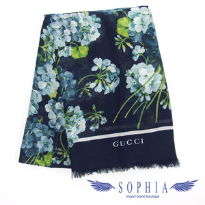 Gucci Blooms silk blend scarf navy 20190709