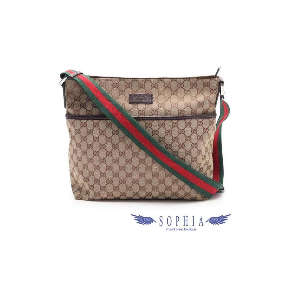 69c63fc772ff Gucci GG Canvas 189751 Canvas,Leather Messenger Bag,Shoulder Bag  Beige,Brown,Green,Red   eLady.com