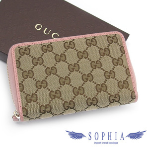 Gucci GG canvas compact wallet beige x pink 20190718