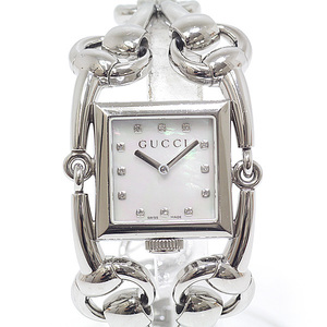 GUCCI Ladies Watch Signoria YA116309 12P Diamond Index White Shell Dial Quartz